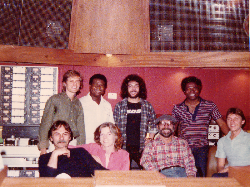 Back row: Neil Larsen,  Abe Laboriel, Steve Gadd, Paulinho DaCosta  Front row: Al Schmidt,                                         Linda Tyler,  Tommy Lipuma, Buzz Feiten.   Sound Lab Studios, Hollywood,CA.  May 1979