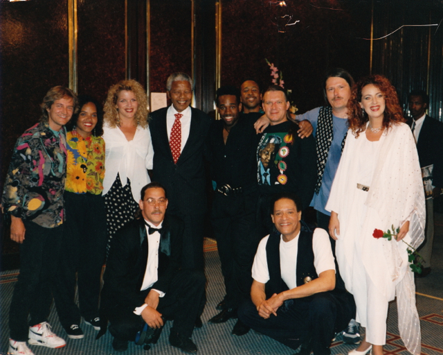 Neil Larsen (left) with the  Al Jarreau Band and Nelson Mandella,  Pretoria, South Africa , 1992